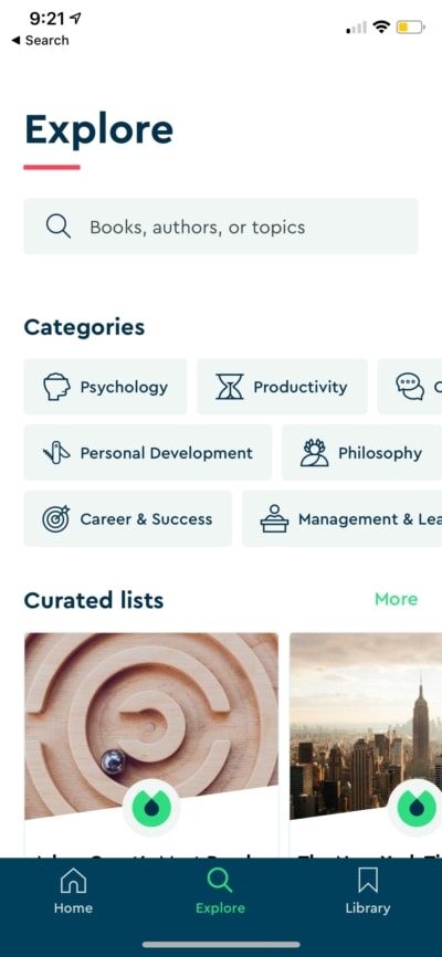 Explore by Blinkist on iOS from UIGarage