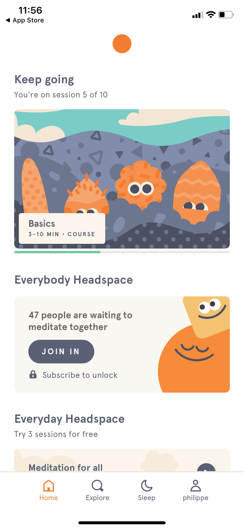 Homepage by Headspace on iOS 2019