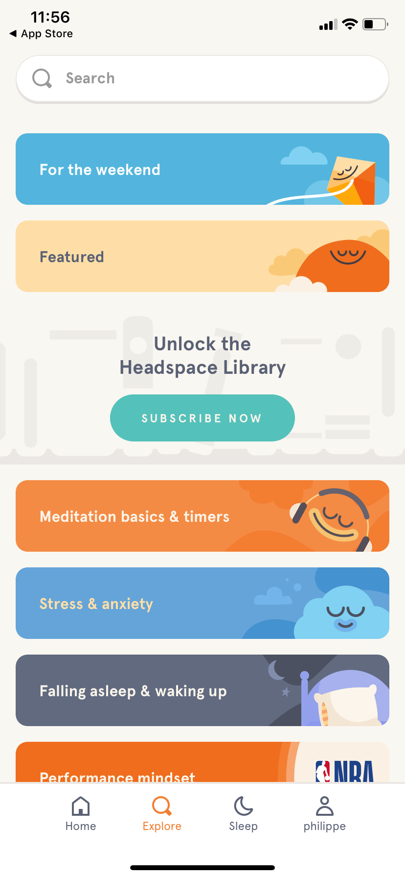 Explore by Headspace on iOS 2019