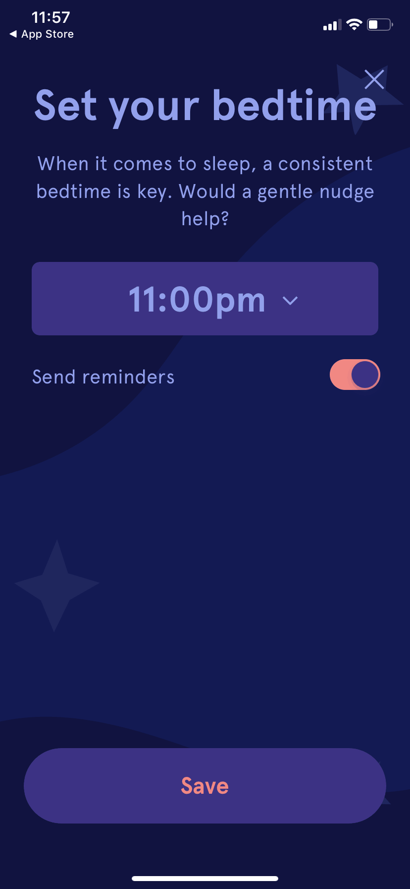 Sleep onboarding by Headspace on iOS 2019 from UIGarage
