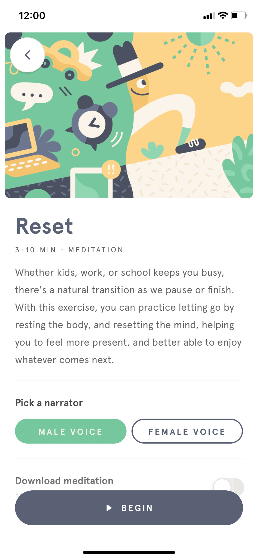 Content Screen by Headspace on iOS 2019