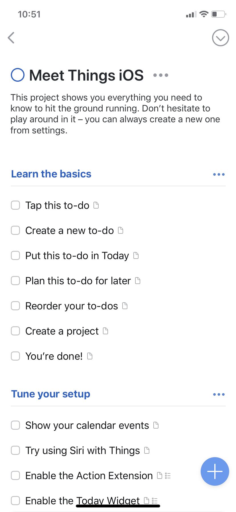 To Do list by Things on iOS