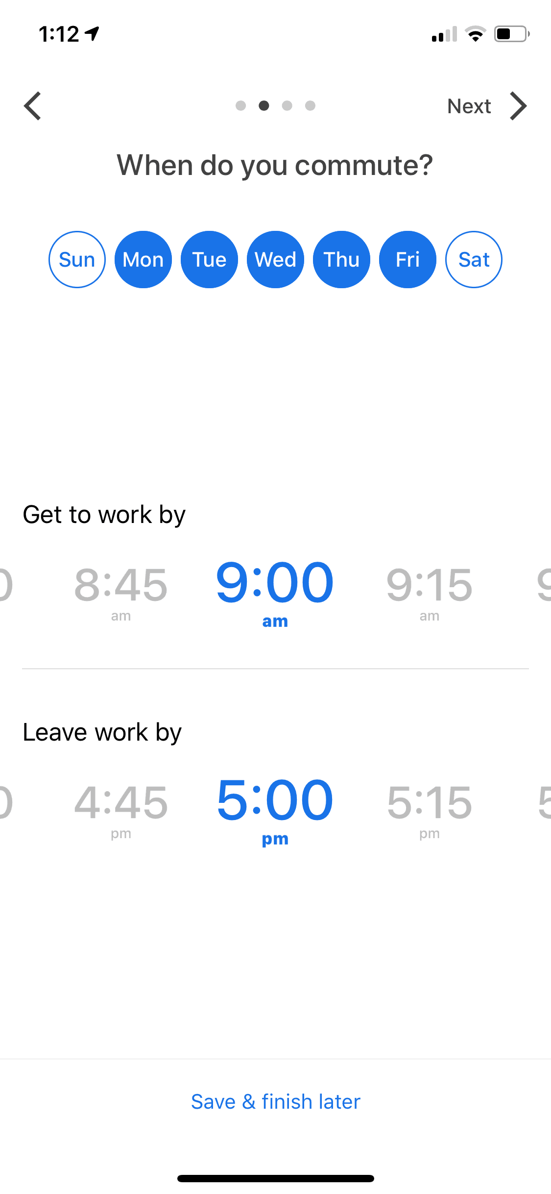 Time Picker by Google Maps on iOS