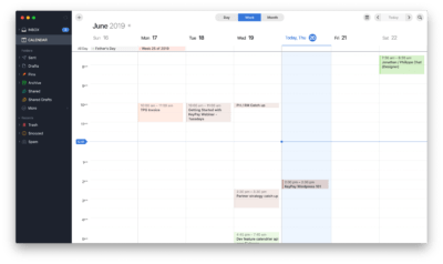 Weekly view Calendar view by Spark on macOS from UIGarage