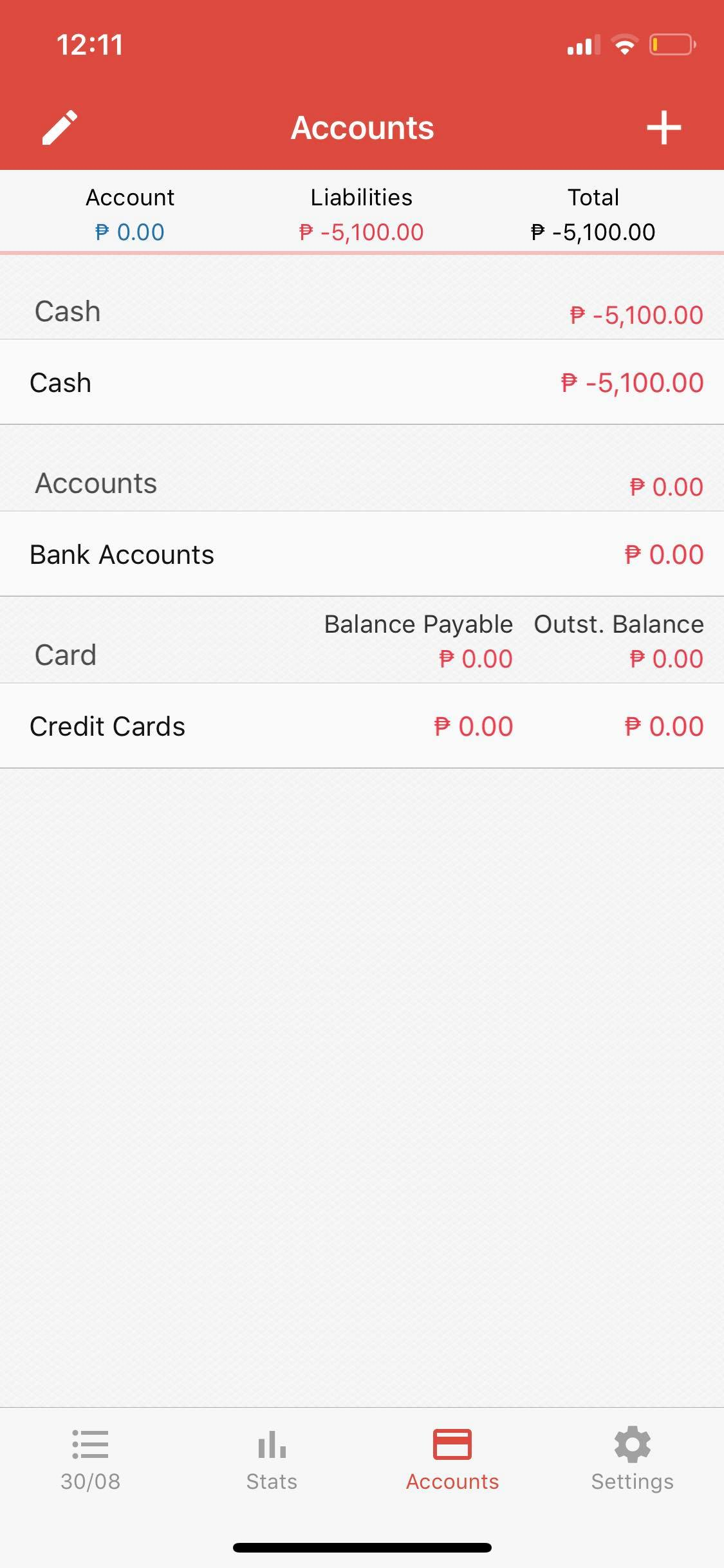 Accounts on iOS by Money Manager from UIGarage