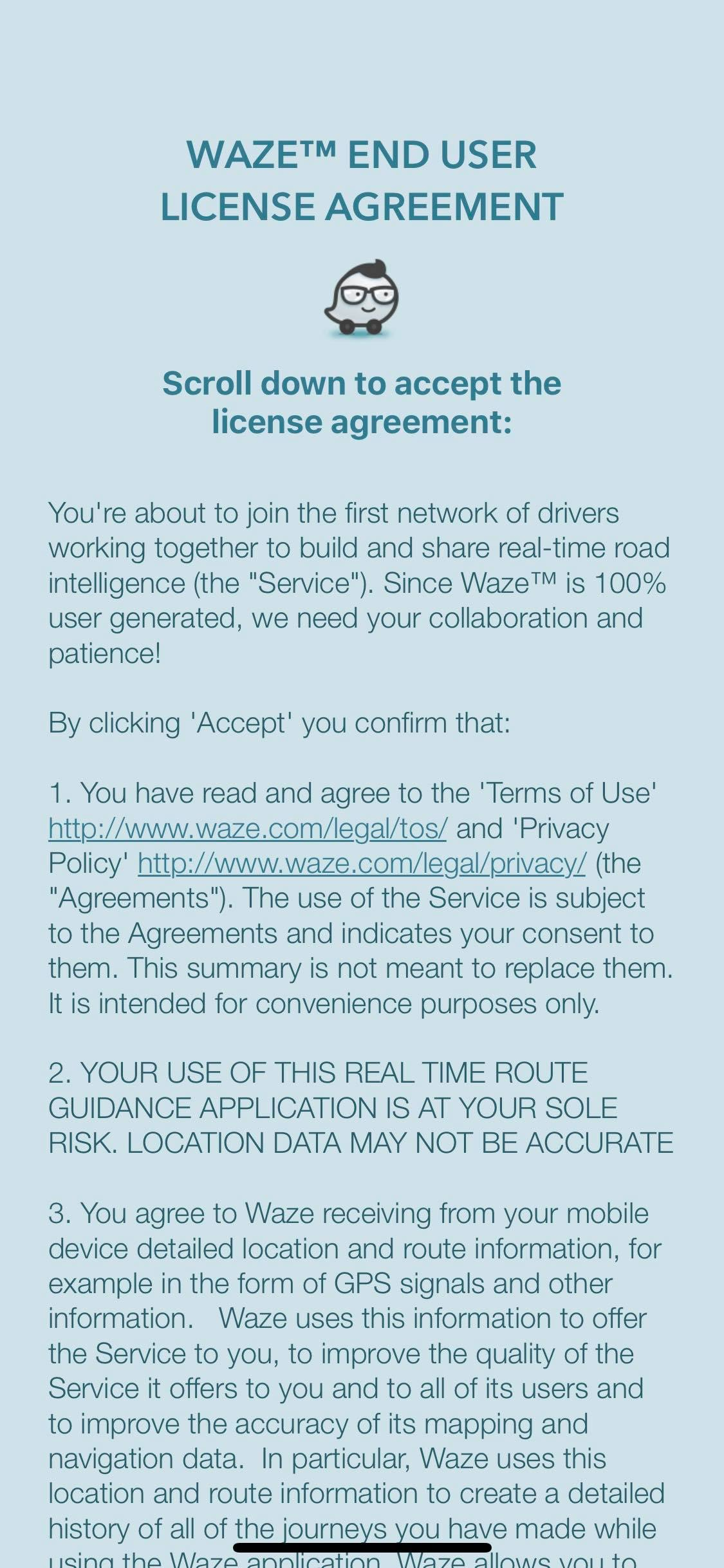 End User License Agreement on iOS by Waze from UIGarage