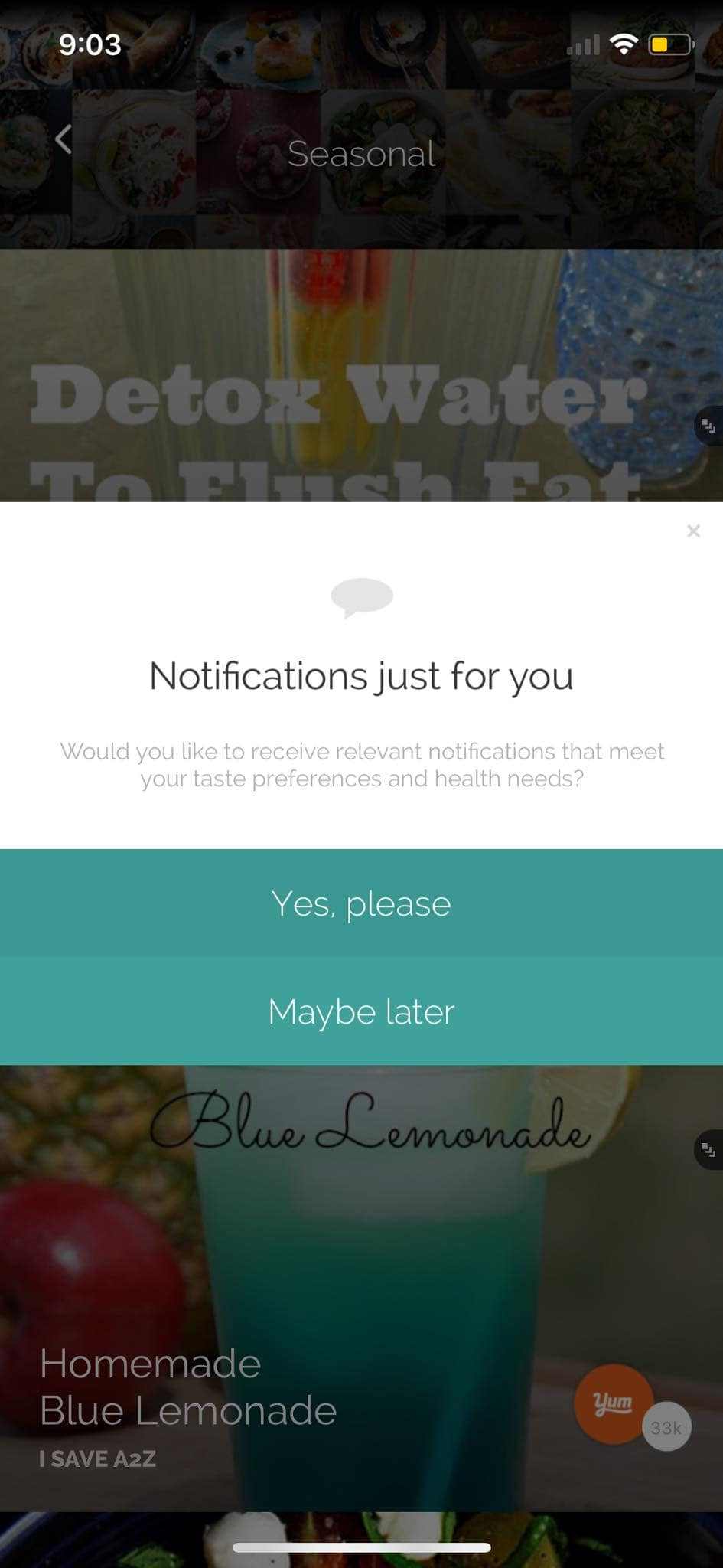 Notifications Alert on iOS by Yummly from UIGarage