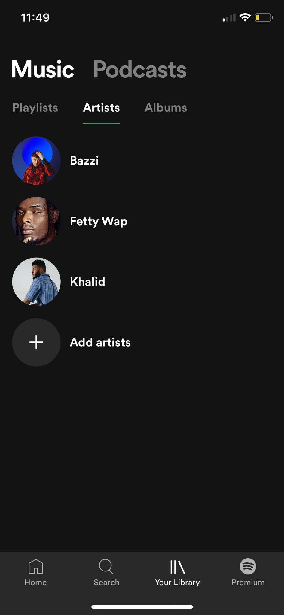 Artists on iOS by Spotify