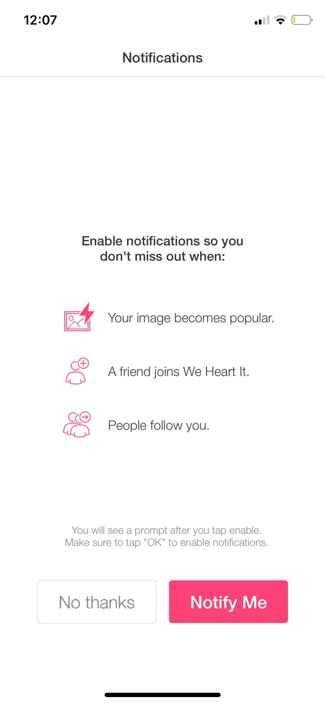 Ask Permission on iOS by We Heart It