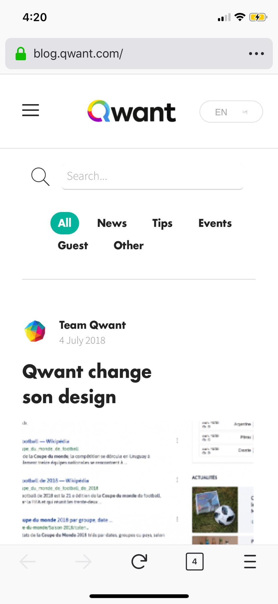 Blog on iOS by Qwant