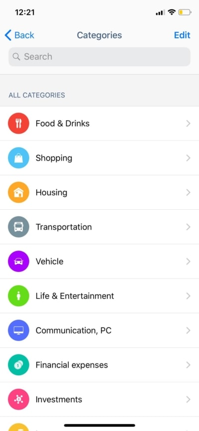 Categories on iOS by Wallet from UIGarage
