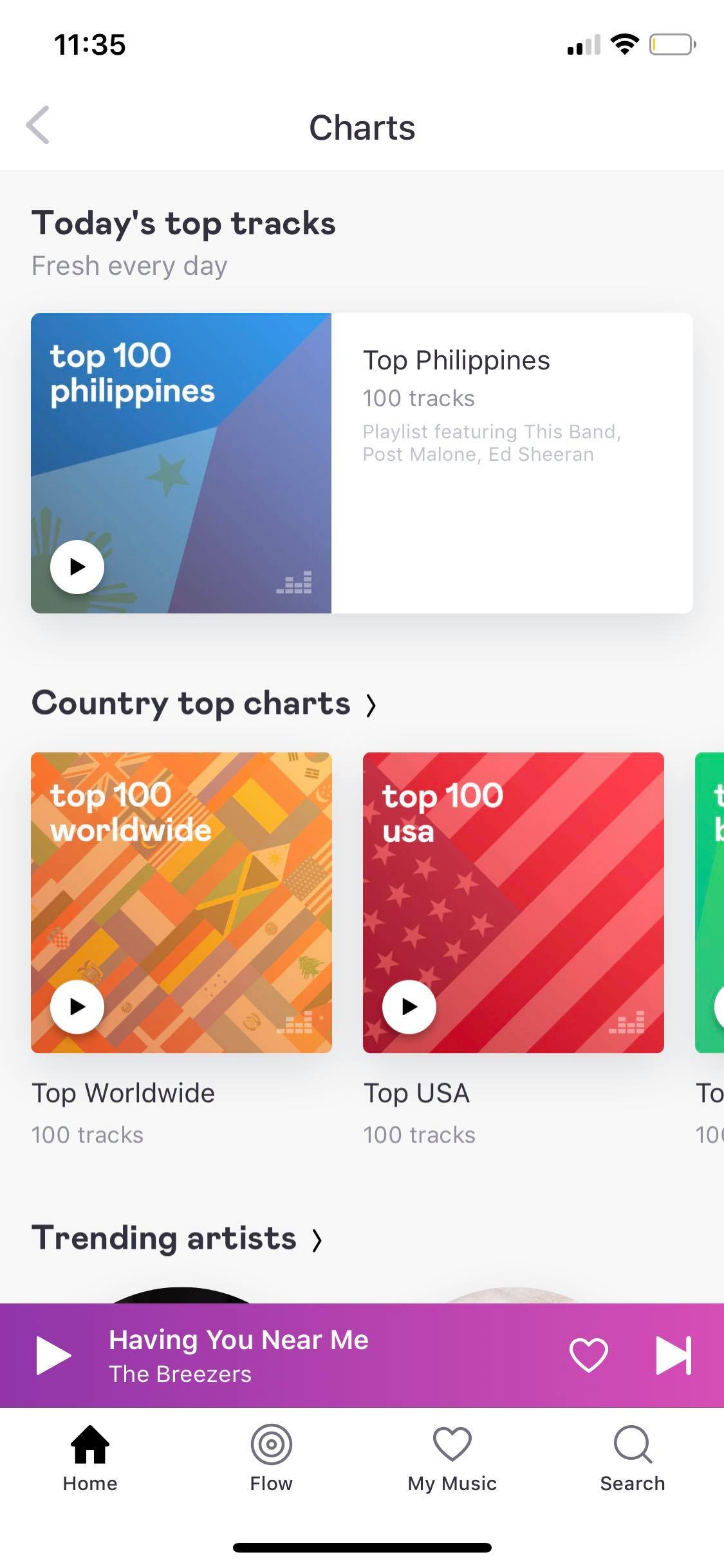 Charts on iOS by Deezer from UIGarage