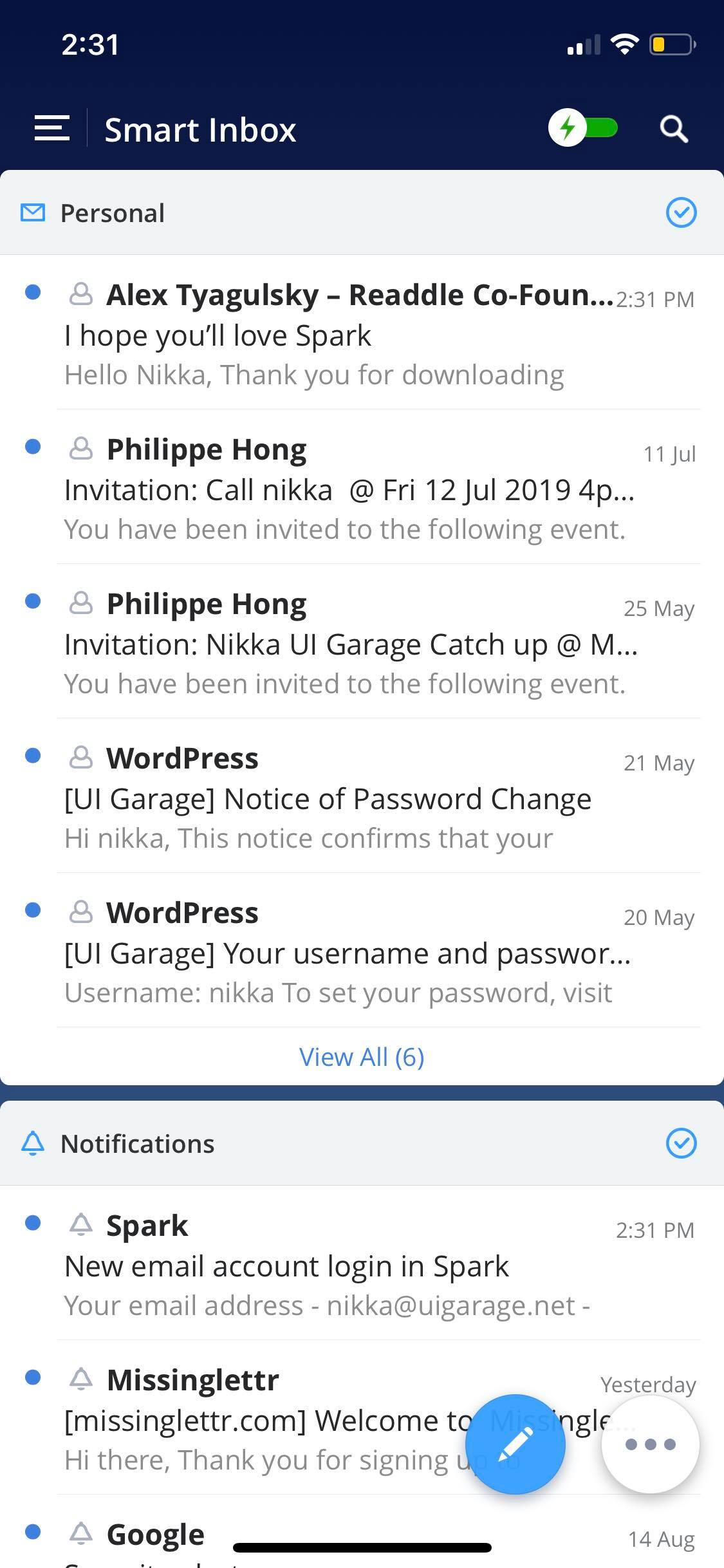 Inbox on iOS by Spark from UIGarage