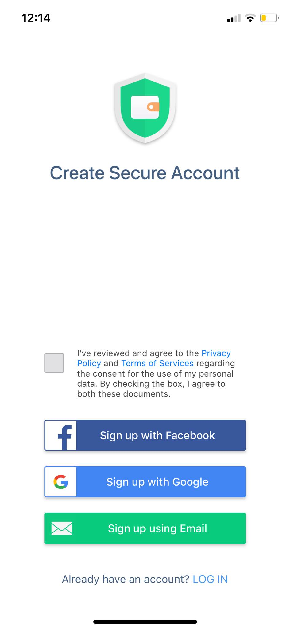 Create Secure Account on iOS by Wallet