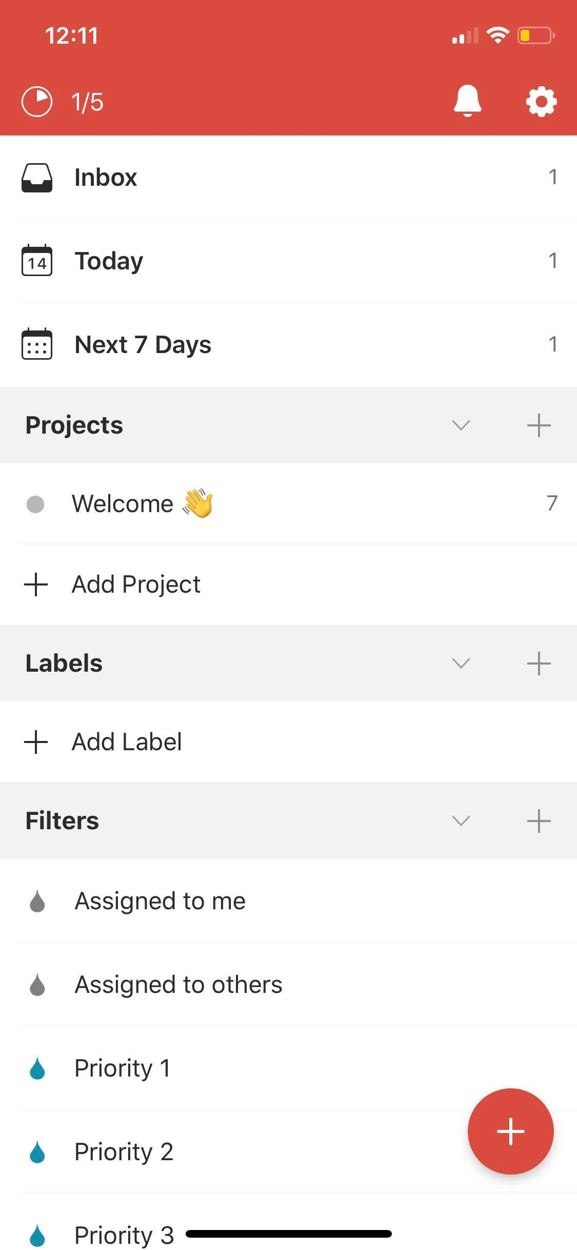 Menu on iOS by Todoist from UIGarage