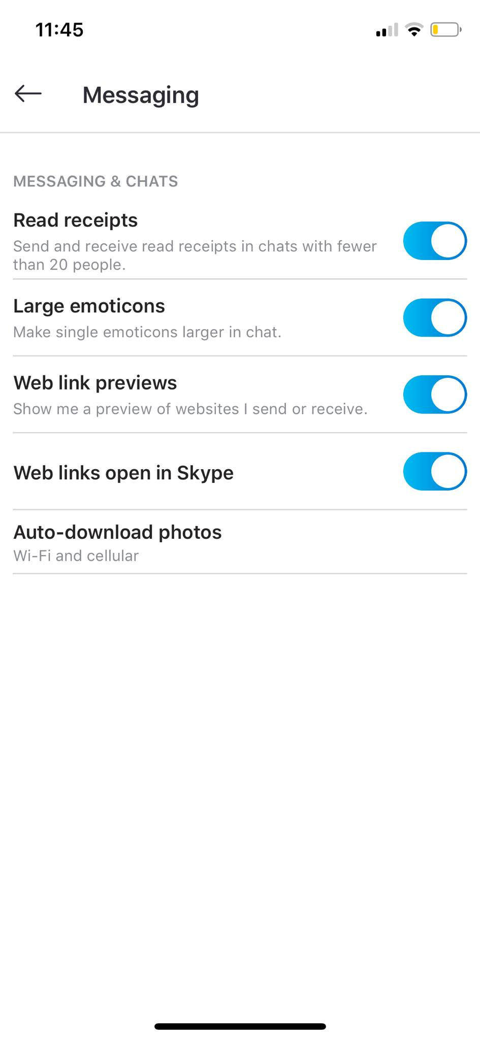 Messaging Settings on iOS by Skype