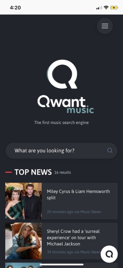 Music on iOS by Qwant from UIGarage