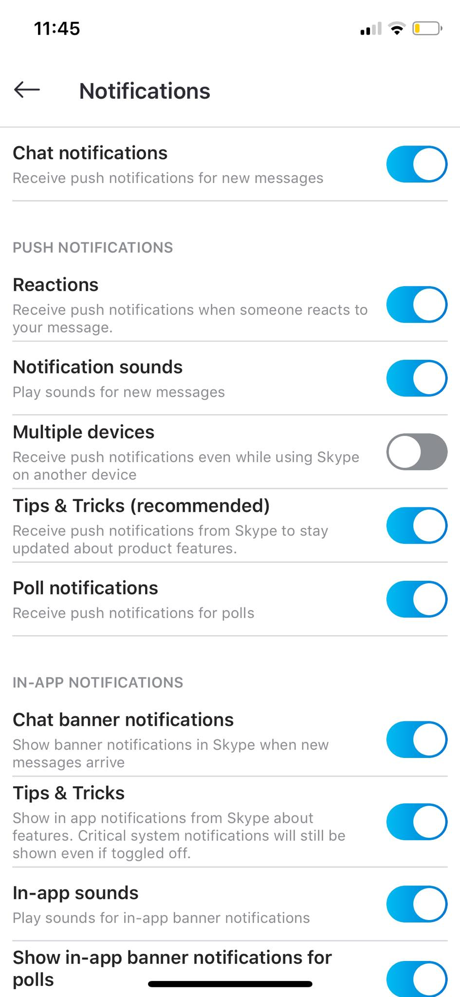 Notifications Settings on iOS by Skype