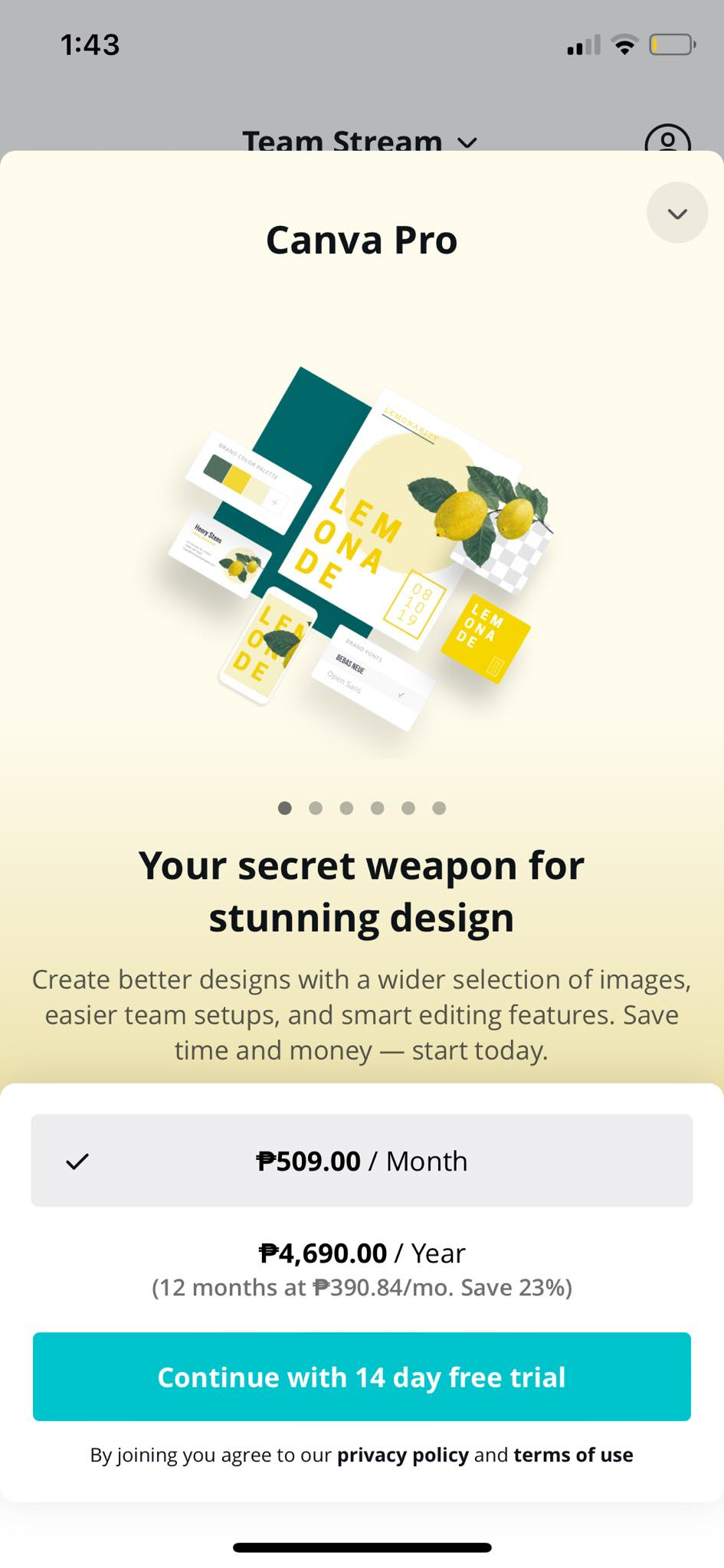 Plans on iOS by Canva from UIGarage