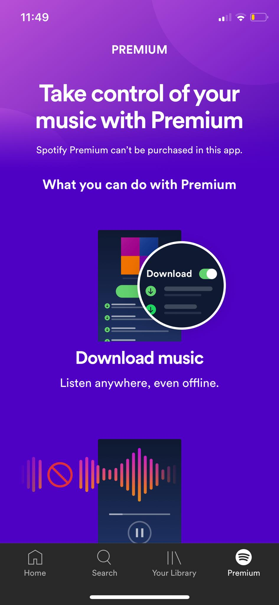 Premium on iOS by Spotify