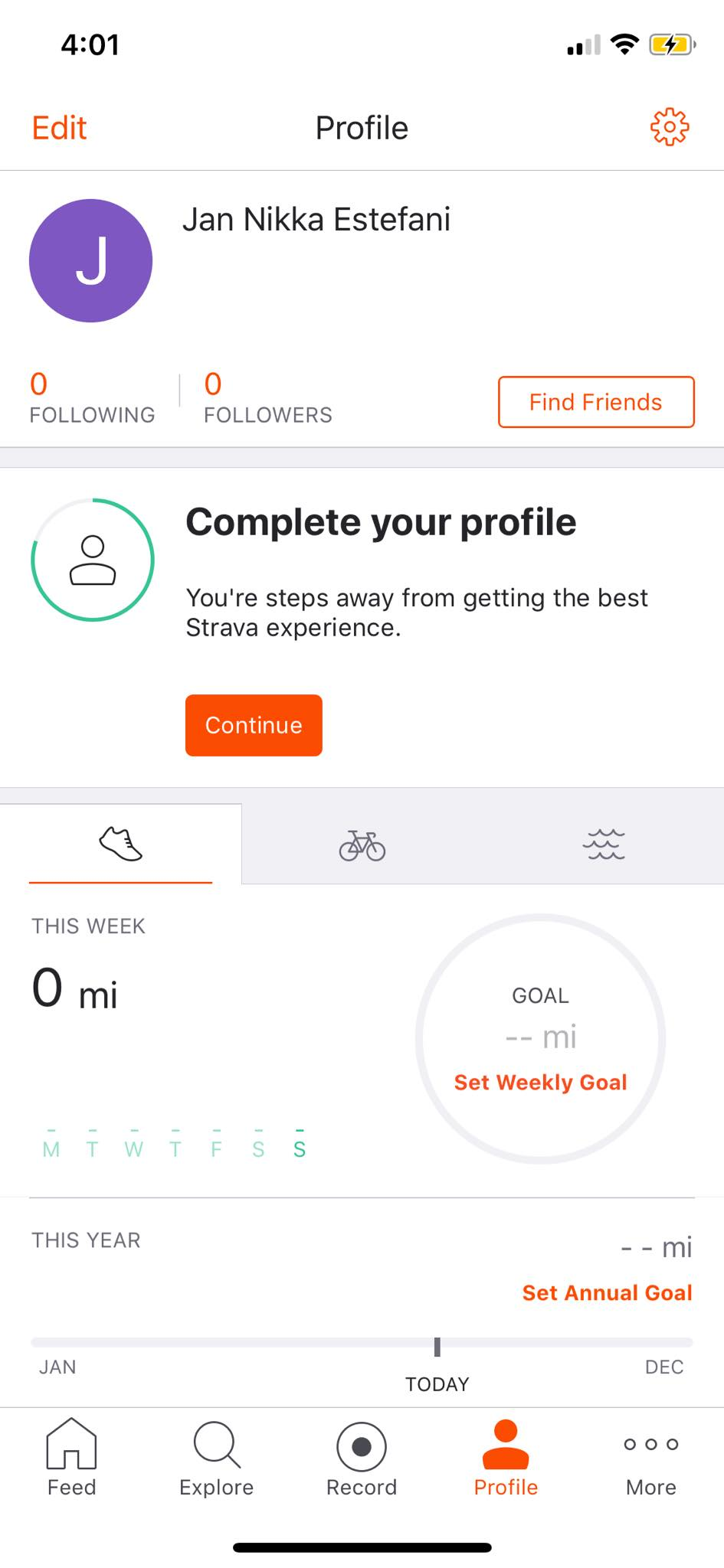 Profile on iOS by Strava