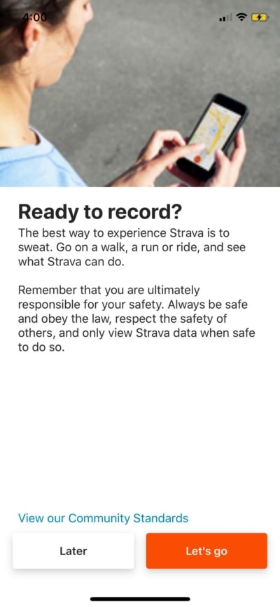 Record on iOS by Strava from UIGarage