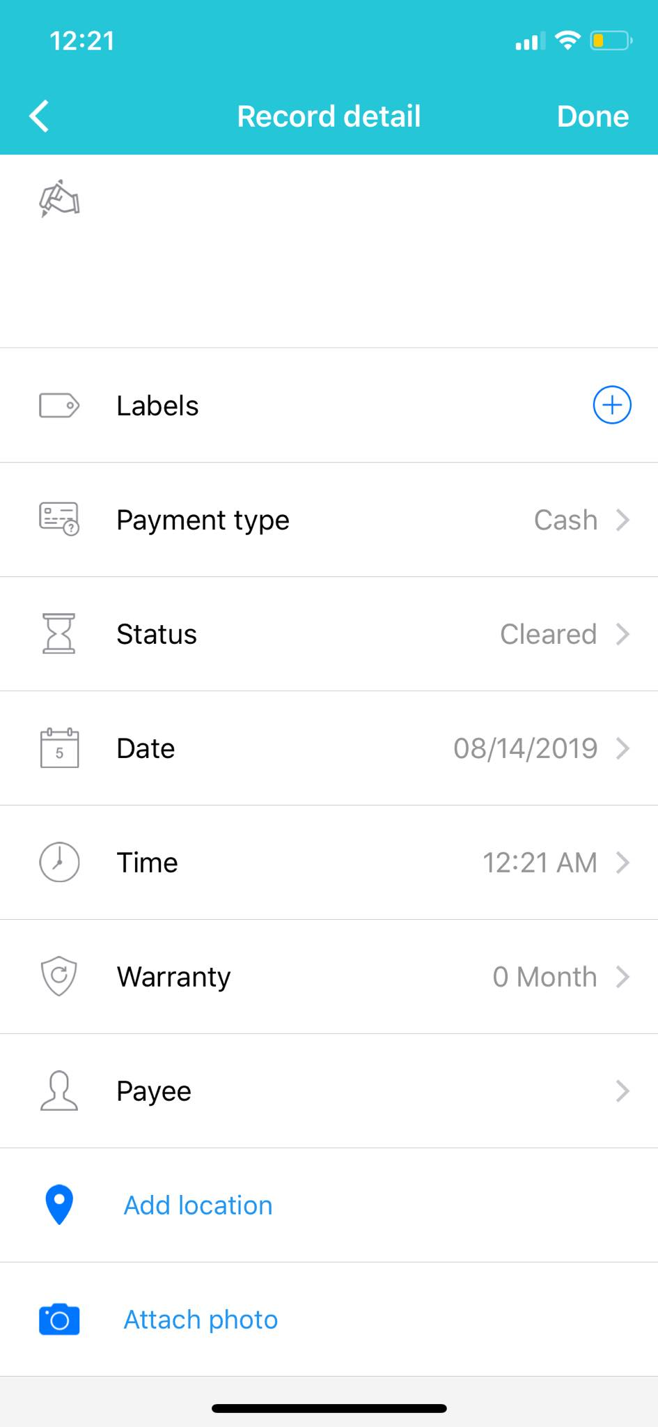 Record Detail on iOS by Wallet