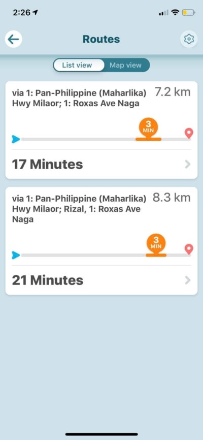 Routes List View on iOS by Waze from UIGarage