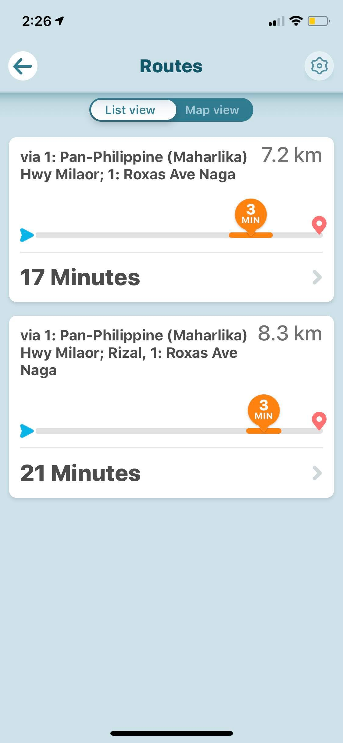 Routes List View on iOS by Waze