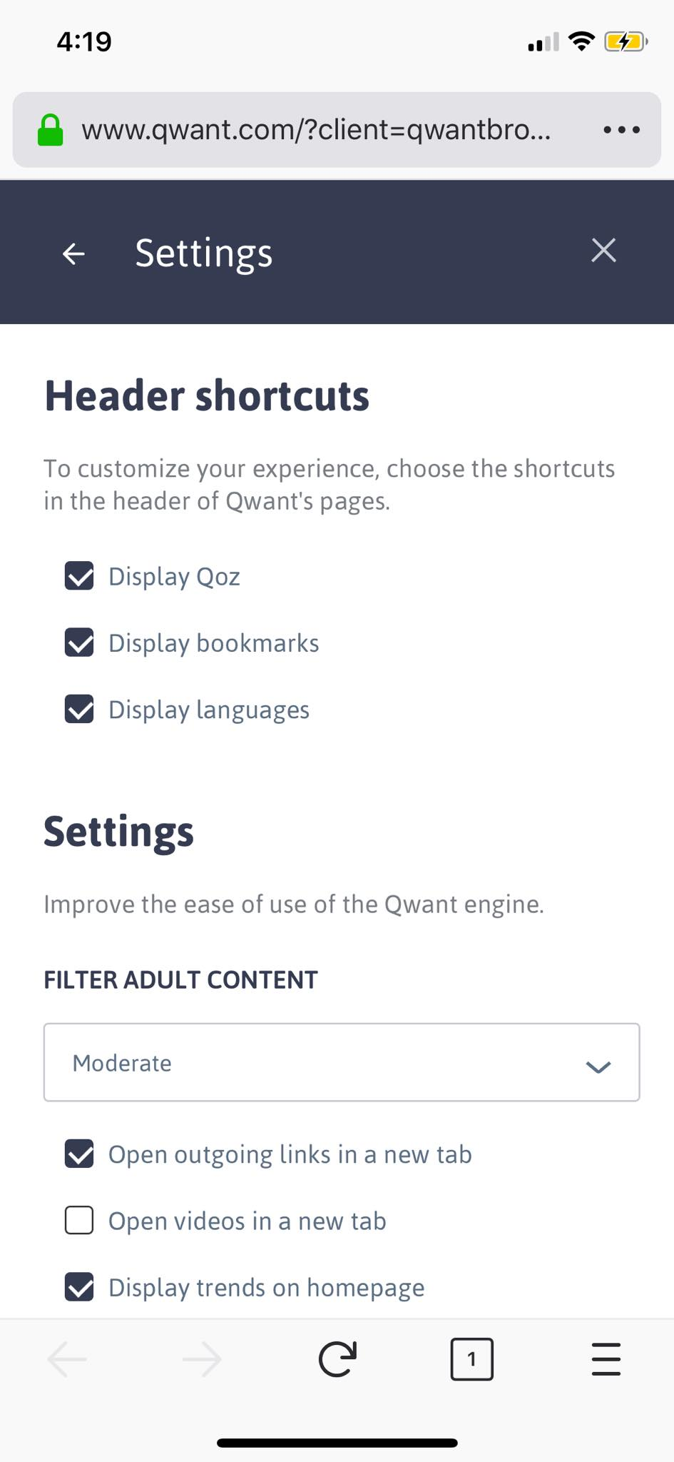Settings on iOS by Qwant
