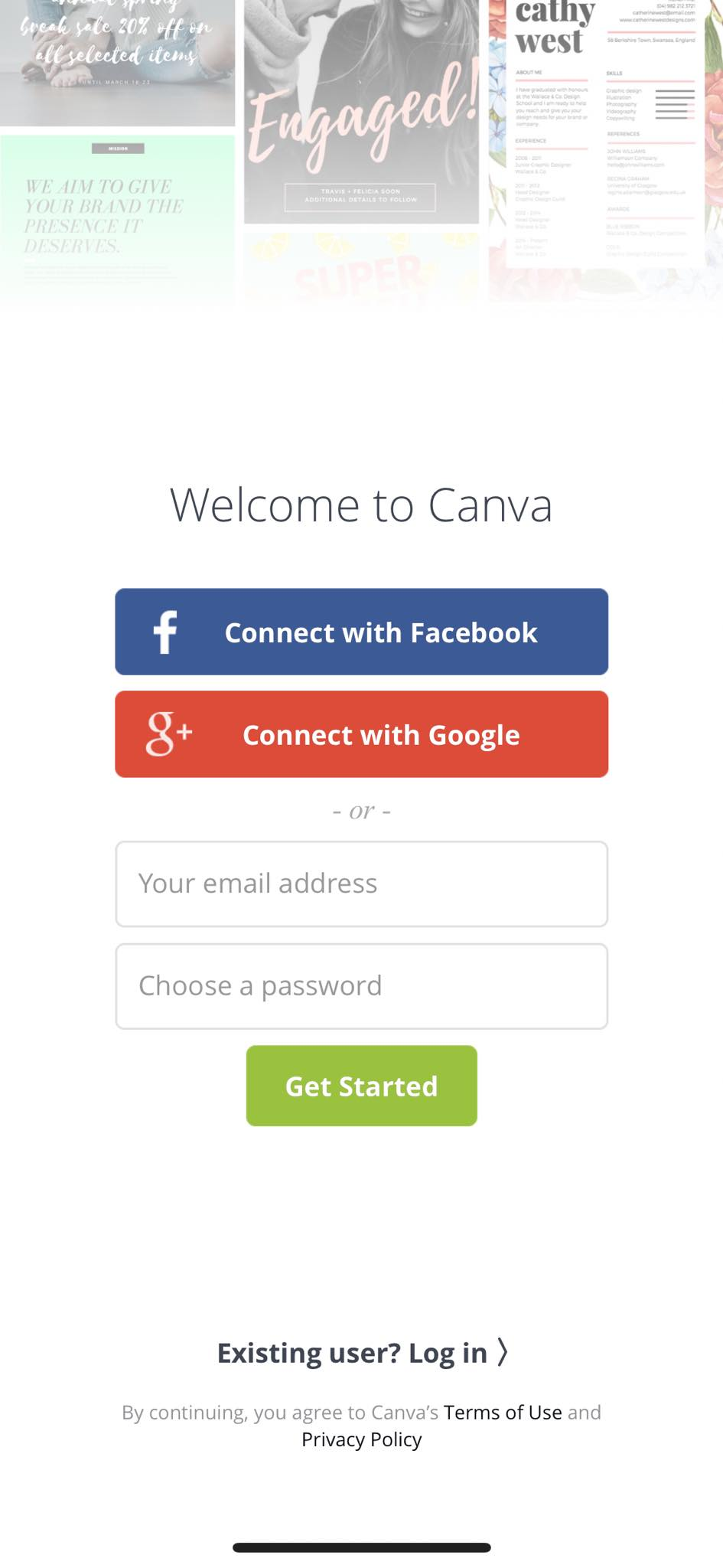 Log In on iOS by Canva