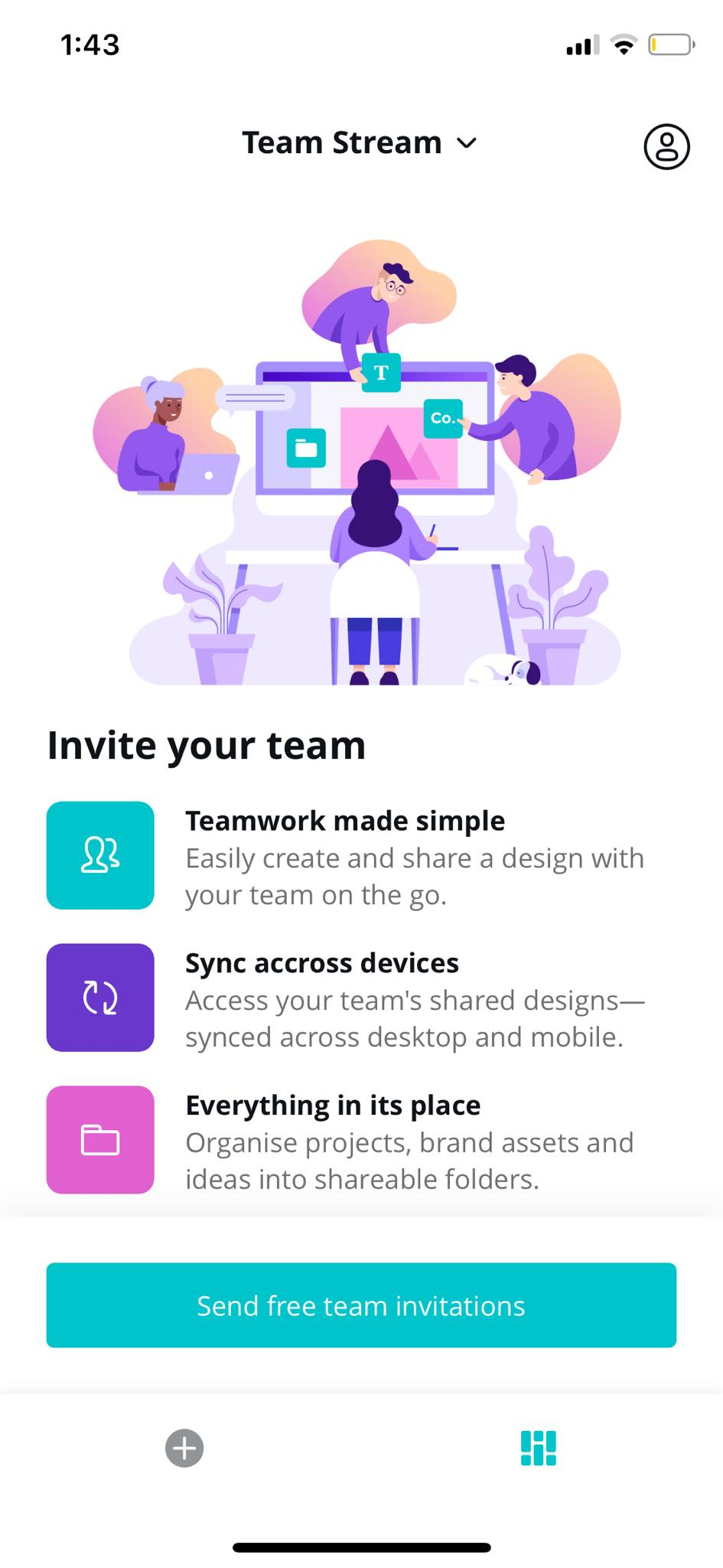 Team Stream on iOS by Canva