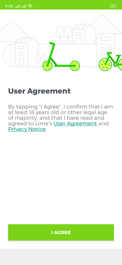 User Agreement on Android by Lime from UIGarage