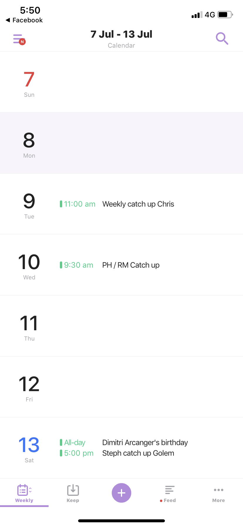 Weekly View on iOS by TimeTree from UIGarage
