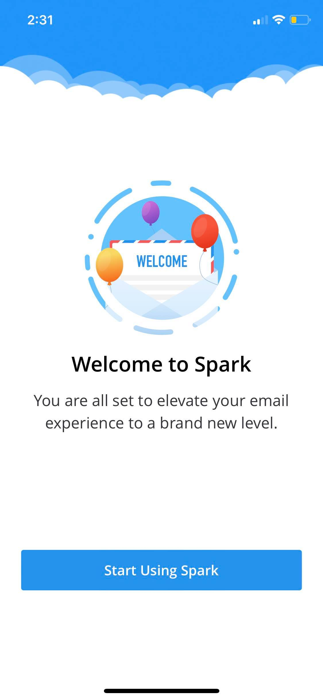 Welcome Page on iOS by Spark