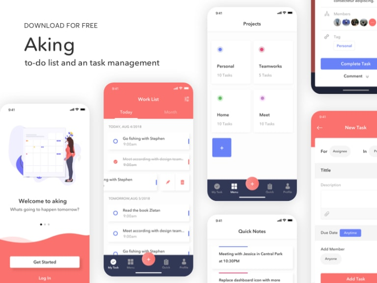 Aking To-Do List App Free UI Kit from UIGarage