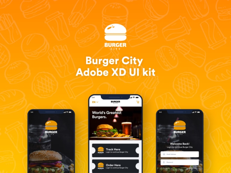 Burger City - Free Adobe XD UI Kit from UIGarage