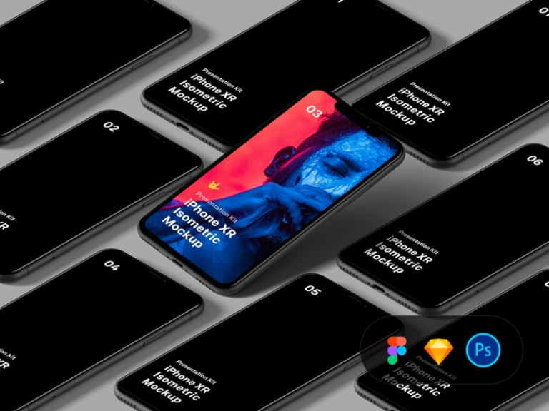 iPhone XR Isometric Mockup from UIGarage