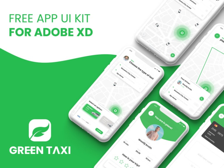 Green Taxi Free App UI Kit from UIGarage