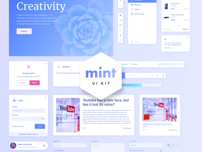 Mint - Free Sketch UI Kit from UIGarage