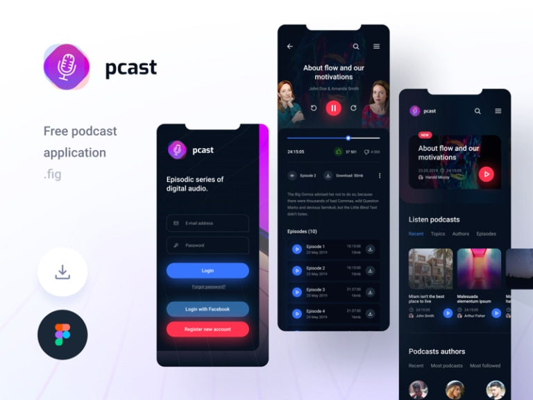 Pcast - Podcast App for Figma from UIGarage