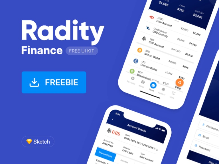 Radity - Finance UI Kit from UIGarage