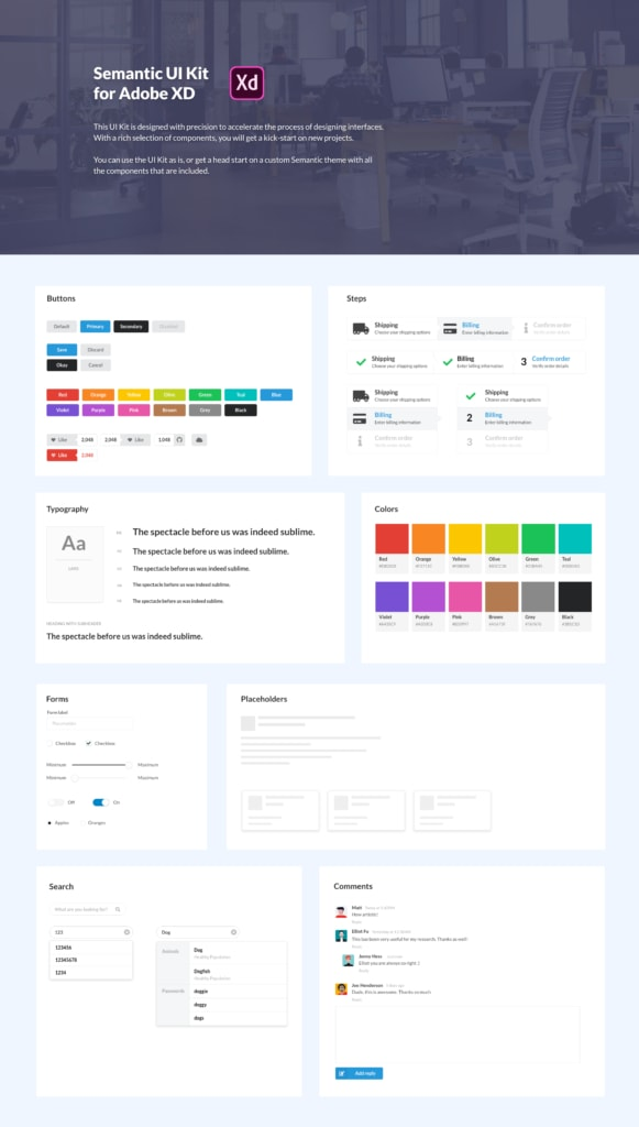 Semantic UI Kit for Adobe XD from UIGarage