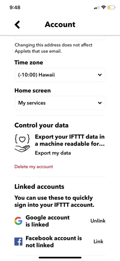 Account Settings on iOS by IFTTT from UIGarage