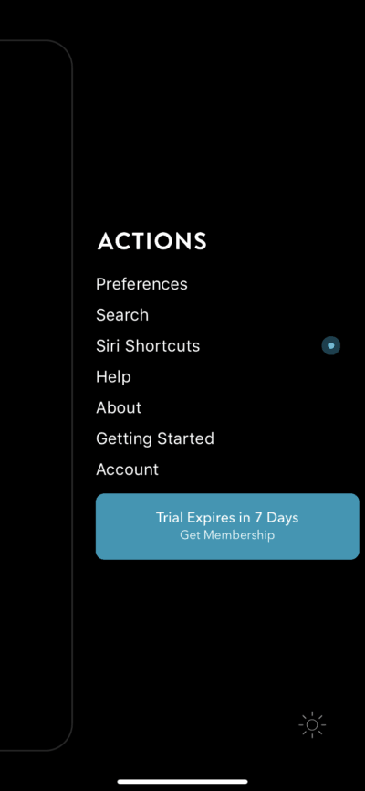 Menu on iOS by Actions from UIGarage
