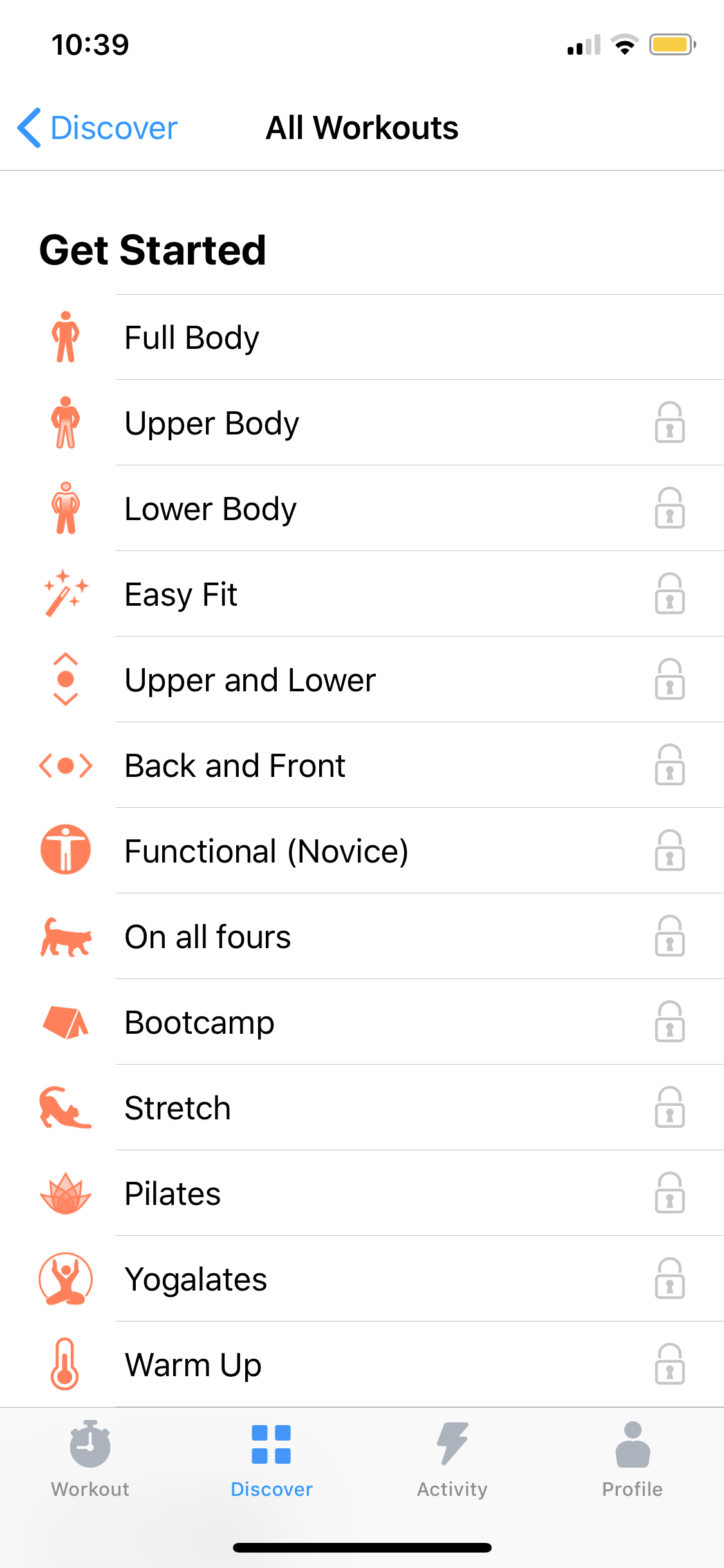 All Workouts on iOS by Seven from UIGarage