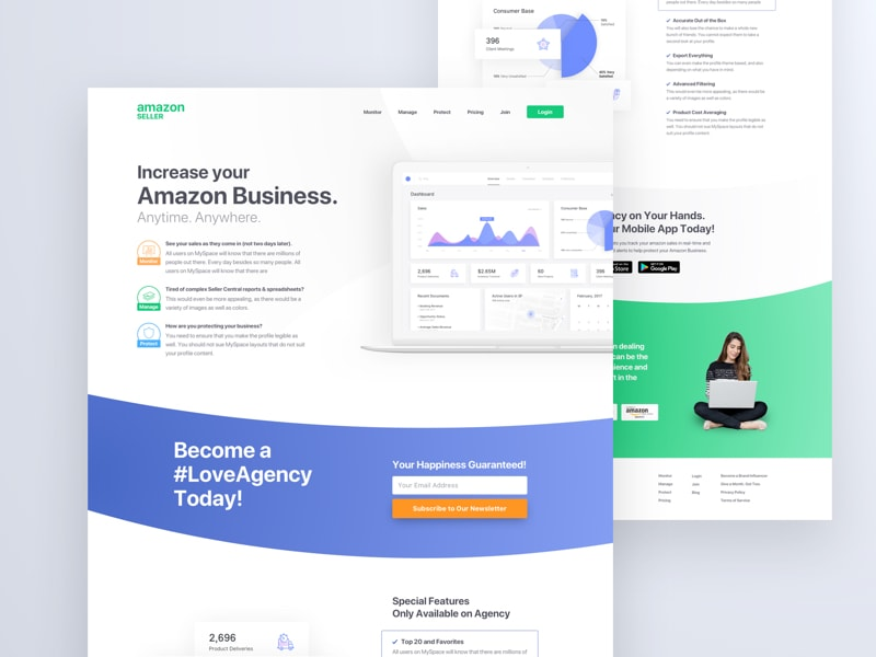 Amazon Seller Landing Page for Sketch from UIGarage