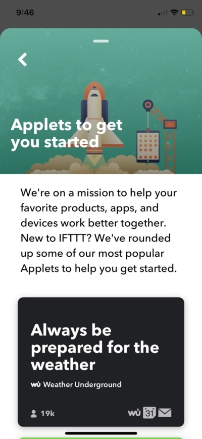 Applets on iOS by IFTTT from UIGarage