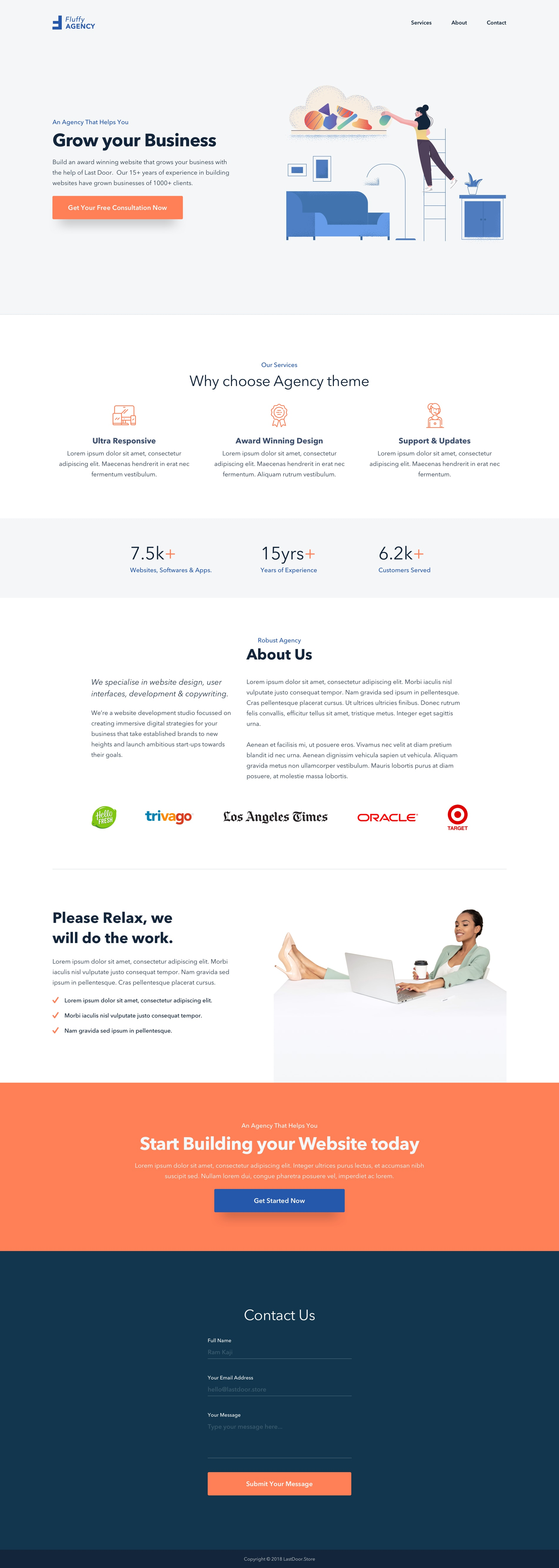 Fluffy Agency Landing Page for Sketch from UIGarage
