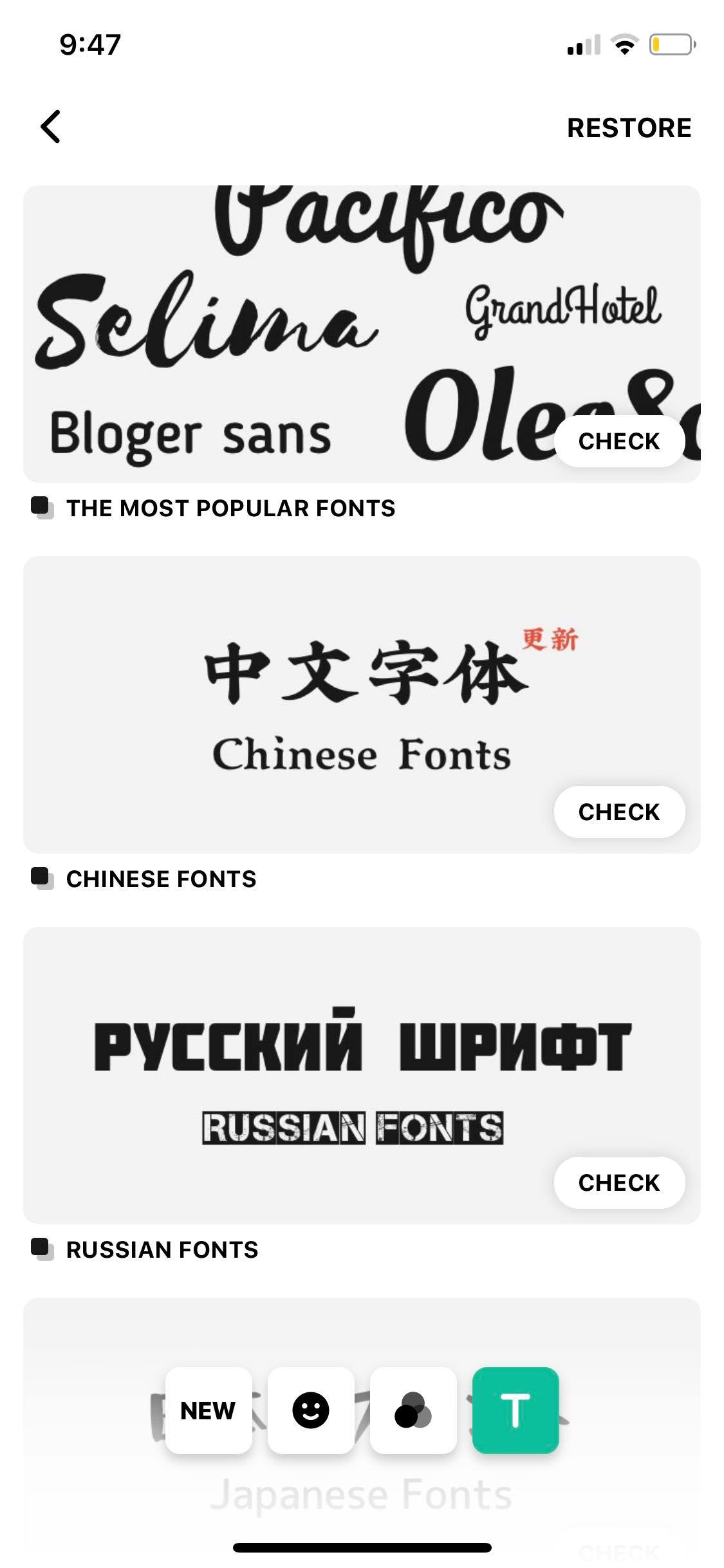 Fonts on iOS by InShot